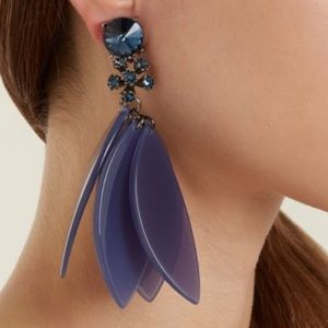 Oscar de la renta embellished petal clip earrings